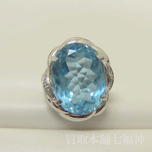 Pt900 ブルートパーズリング メレダイヤモンド付き