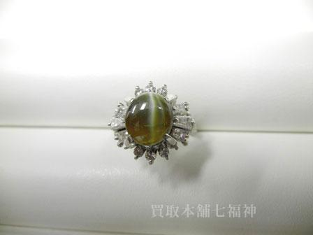 Pt900 キャッツアイリング メレダイヤモンド