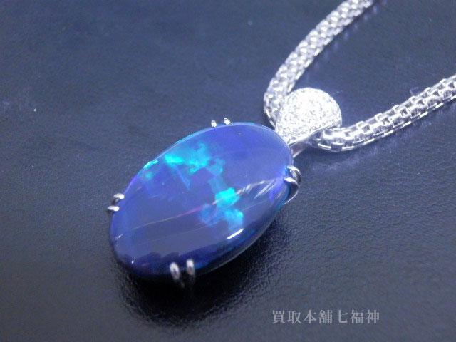 Pt900/Pt850コンビ ブラックオパールネックレス 8.98ct・メレダイヤモンド 0.43ct