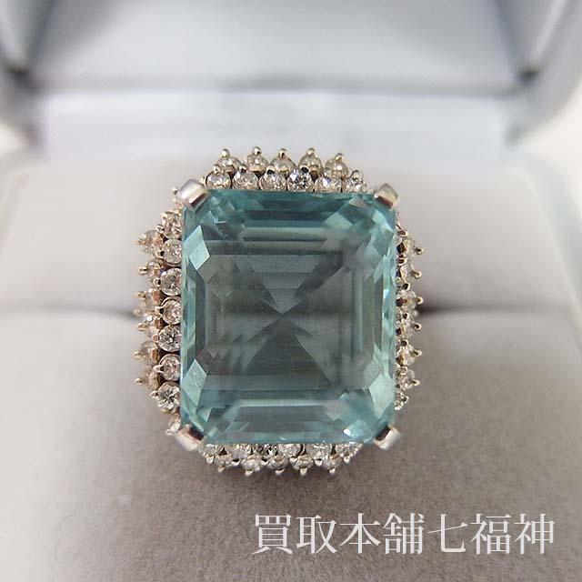 Pm アクアマリンリング メレダイヤモンド付き