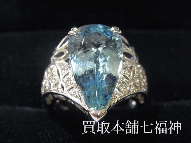 Pt900 アクアマリンリング メレダイヤモンド付き