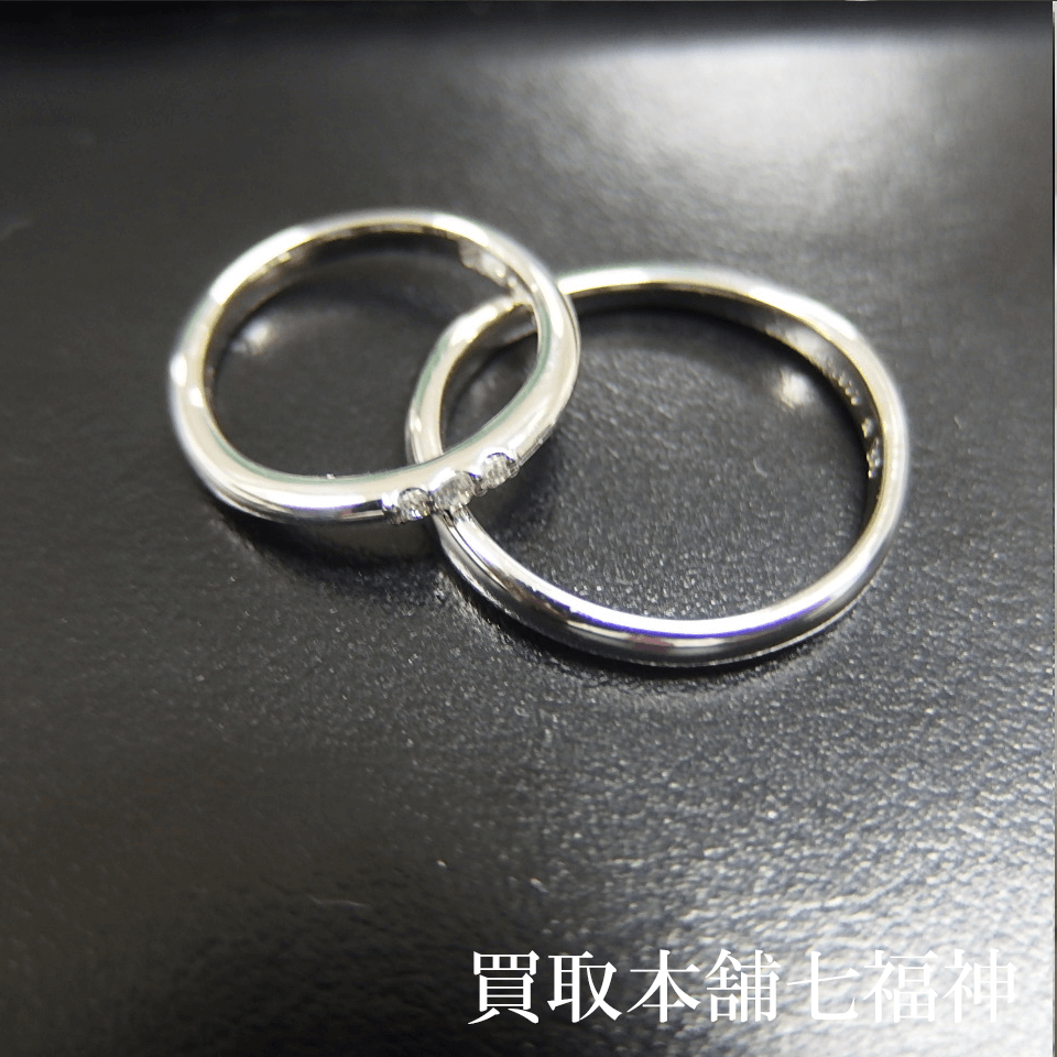 Pt900のダイヤモンド付き結婚指輪