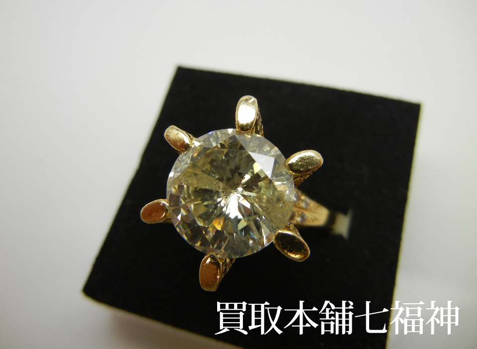 K18 立て爪ダイヤモンドリング 5.787ct・メレダイヤモンド0.81ct