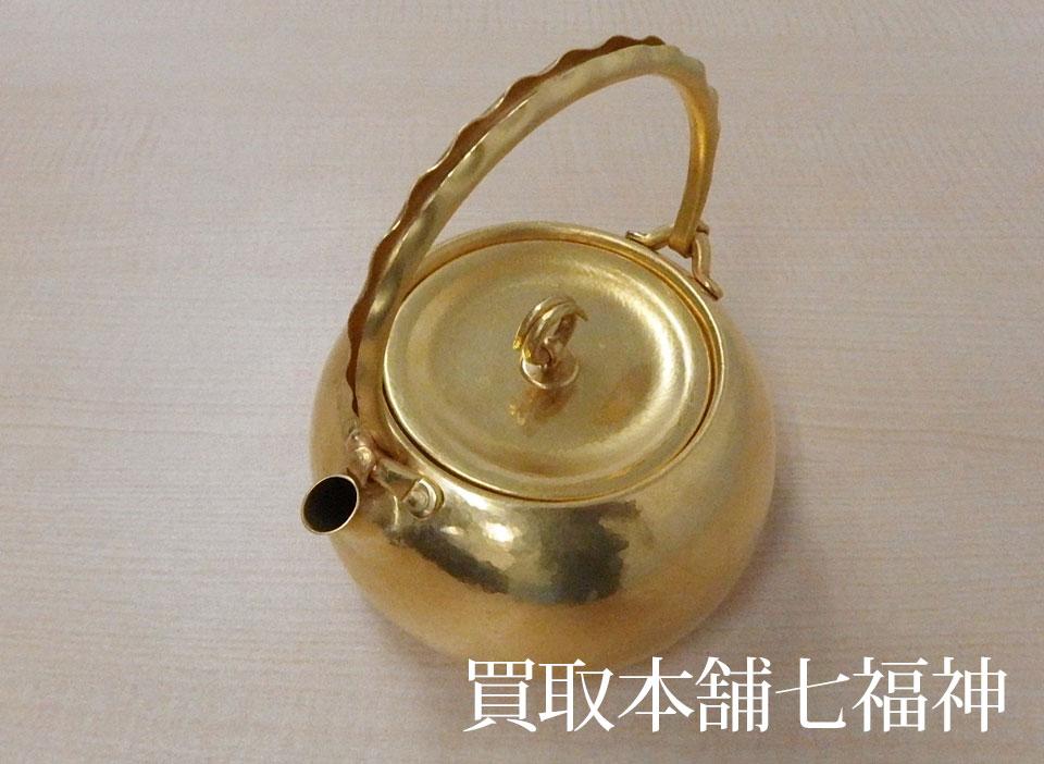 K24(24金)純金 鎚目打急須(茶器・茶道具)