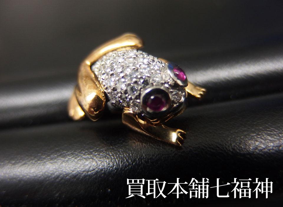 Pt900/K18 ルビー0.119ct ダイヤモンド0.36ct付タイタック