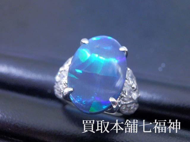 Pt900 ブラックオパール ダイヤモンドリング