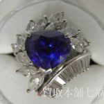 Pt900 サファイアリング メレダイヤモンド