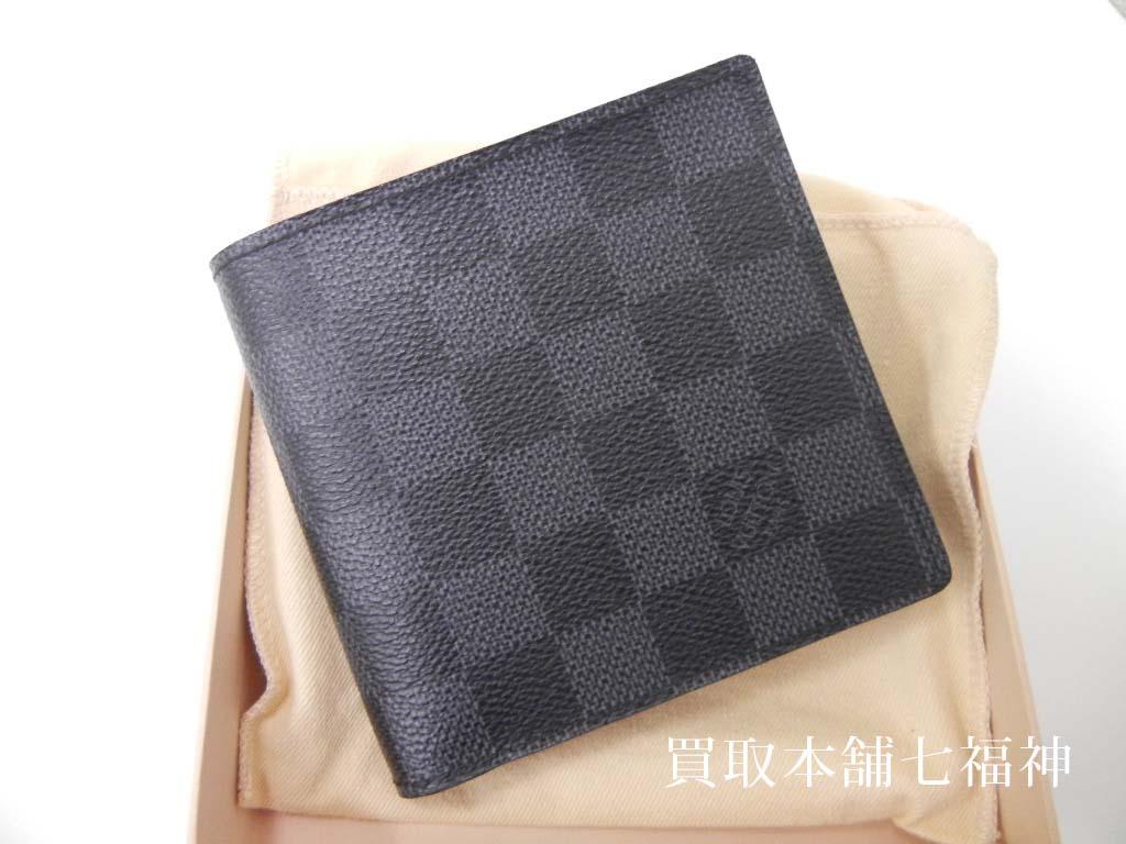 ルイ・ヴィトンのポルトフォイユ・マルコの二つ折り財布ダミエグラフィット