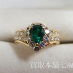 【買取相場50,000~60,000円】K18 グリーンガーネット0.76ct メレダイヤ0.57ctリングをお買取致しました。