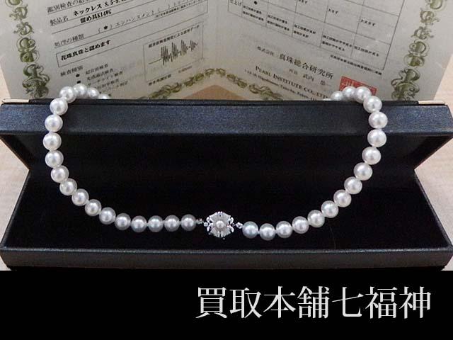アコヤ養殖真珠(パール)花珠のK14WGネックレス