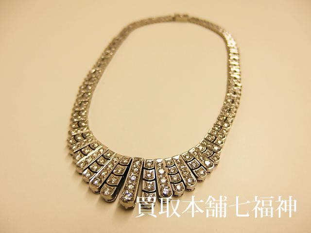 ミキモトのダイヤモンド付きプラチナネックレス