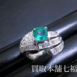 【買取相場80,000~100,000円】Pt900 メレダイヤ付エメラルドリングをお買取致しました。