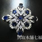 サファイアとたくさんのダイヤモンドを使った14金ブローチ
