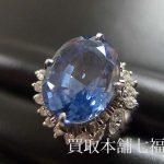 【買取相場80,000~93,000円】Pt900 サファイヤリング 9.88ctメレダイヤ付をお買取致しました。