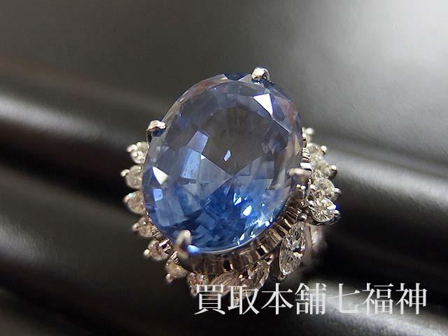サファイヤリングメレダイヤ付