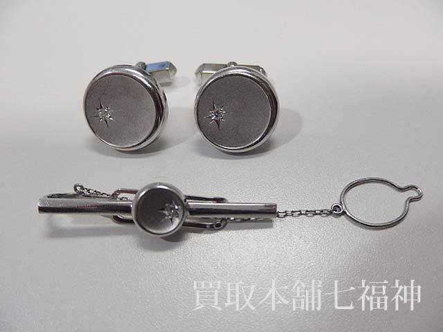 メレダイヤ付カフス/ネクタイピン
