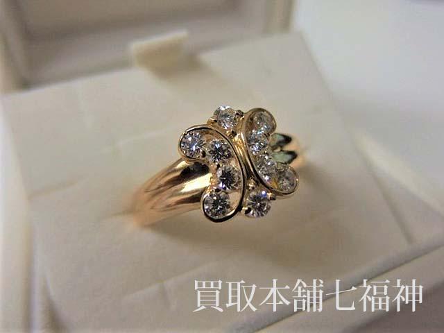 セリーヌ 750YG(K18) ブラゾンモチーフ メレダイヤモンド0.62ct リング