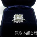 【買取相場200,000~230,000円】Pt900 プリンセスカットダイヤモンド1.068ct(中石)1.26ct(脇石)リング をお買取致しました。