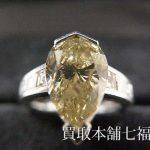 【買取相場600,000~700,000円】Pt900 ブラウンダイヤモンド3.141ct(中石)0.55ct(脇石)リングをお買取致しました。